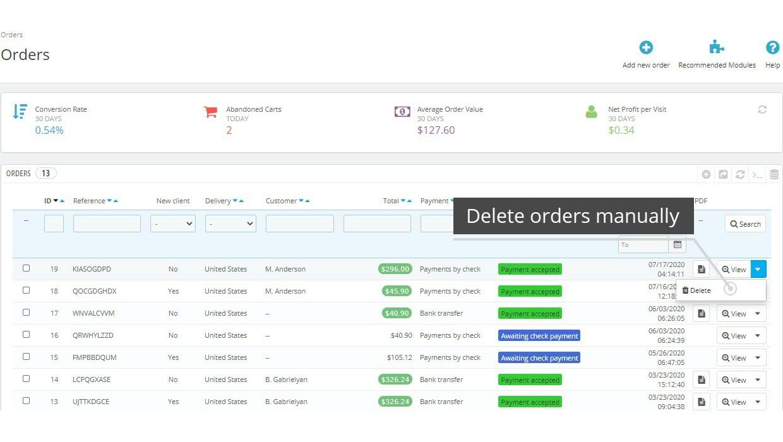 Easy Order Delete PrestaShop Module