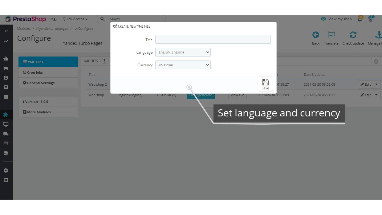 YML export for Yandex Turbo Pages Module